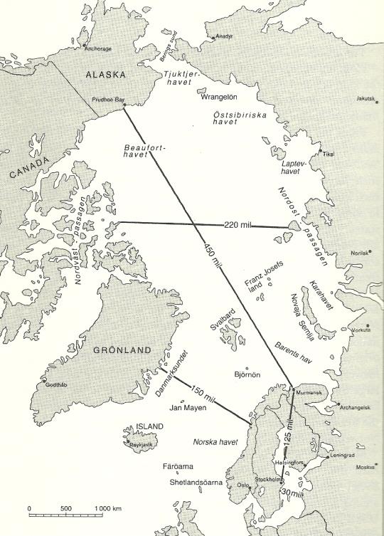 Karta över den Arktiska bassängen